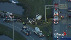 Concrete truck driver pulled from overturned vehicle