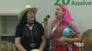 Calgary performer promotes 'girl power' at Stampede barbecue
