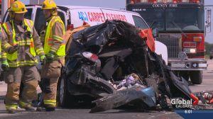Women dead after Highway 1 crash east of Calgary