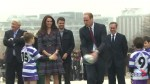 Duke and Duchess of Cambridge play rugby ahead of France-Wales match