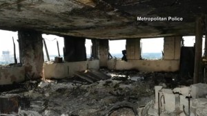 Video shows charred interior of London apartment destroyed by fire