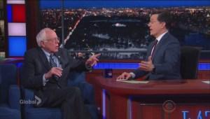 Bernie Sanders joins Late Show's Stephen Colbert