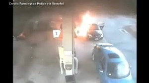 Woman pulls two children to safety moments before gas station fire consumes her car