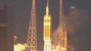 Multiple angles of Orion spacecraft launch
