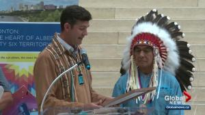 Ceremony honours Edmonton's relationship with first nations