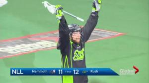 Saskatchewan Rush beat Colorado Mammoth 12-11 in OT to stay first in West