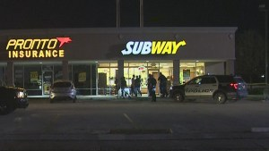 Aftermath of shooting at Subway shop after worker killed protecting his mother from robbers