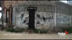Banksy creates graffiti artwork amid Gaza rubble