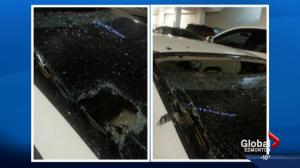Concrete falls on car at WEM