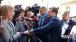 French presidential candidate Macron greets supporters after winning first round