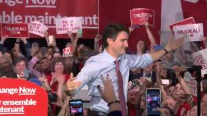 2015 Federal Election: Prime Minister-designate Justin Trudeau holds rally in Ottawa