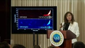 'We can hear the universe': Scientist shows gravitational wave sound to reporters
