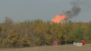 Massive fire still burning at Transgas station near Prud'Homme