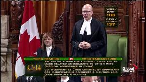 Bill on assisted dying passes 186-137 in House of Commons