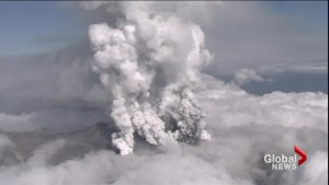 Volcano in central Japan part erupted without warning