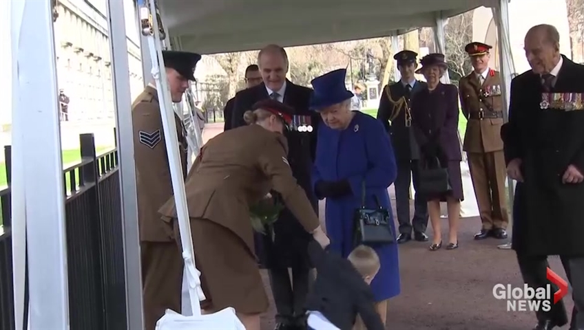 Bad twos; Queen unphased by toddler's tantrum