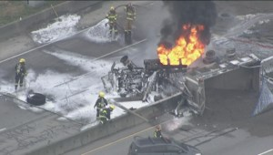 Raw: Aerials of the truck fire on Highway 99