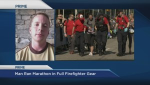 Firefighter Stephen Sanderson runs marathon in gear for a good cause