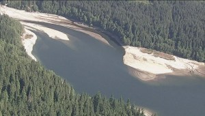 Aerials:  Low water level at Vancouver reservoir