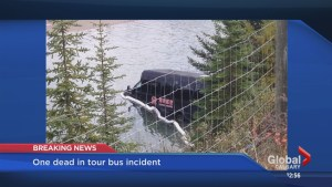 1 person dead, another in critical condition after tour bus accident near Banff