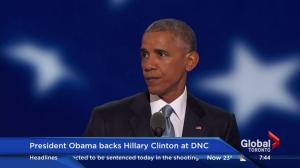President Obama backs Hillary Clinton at DNC, quotes Reagan in speech