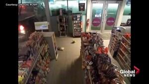 Surveillance video shows Okotoks smash and grab