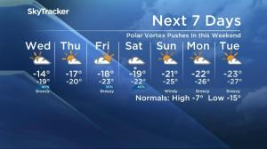 Polar vortex further freezes Saskatoon's weather forecast this weekend