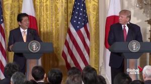 Shinzo Abe jokes that he's looking forward to golfing with Trump
