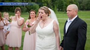 Mother surprised on wedding day by man who received her son's heart transplant