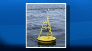 Hi-tech weather buoy collecting data in the Bay of Fundy