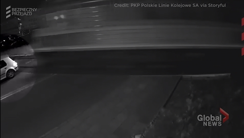 Near tragedy in Poland when vehicle crosses tracks before train