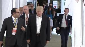 Donald Trump arrives at Hofstra University