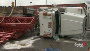 Truck overturned on Freeport Boulevard