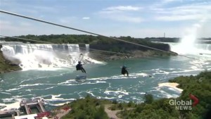 Riding the new 'Mist Rider' zipline over the Niagara Gorge