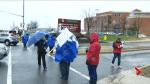High school teachers in Sudbury join Durham teachers on picket line.