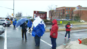 High school teachers in Sudbury join Durham teachers on picket line.