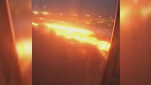 Passenger captures wing of Singapore Airlines plane burst into flames