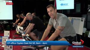 Jordan Witzel uses a stationary bike to Spin for a Veteran