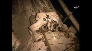 Astronaut Scott Kelly works to repair ISS ammonia cooling system during arduous spacewalk