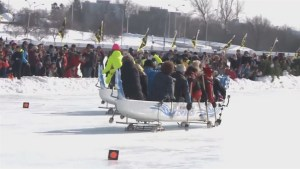 'Ice Dragon boat' race held on Ottawa's frozen Rideau Canal