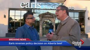 Earls reverses decision to stop using Canadian beef