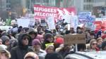 Torontonians protest Trump's travel ban at U.S. consulate