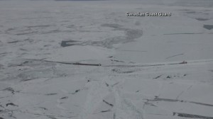 RAW: Canadian and U.S. Coast Guard clear path through frozen Lake Superior