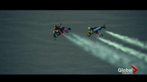 Incredible jet pack stunt goes viral