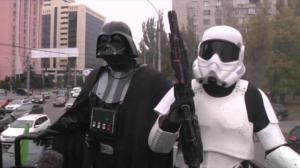 Darth Vader seen campaigning on the streets of Kiev
