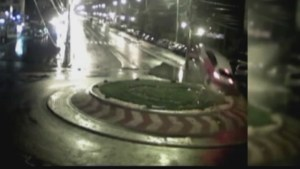 Romanian driver's amazing jump over a roundabout goes viral