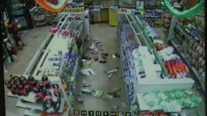 Raw video: Convenience store security footage during California earthquake