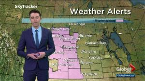Conditions favourable for development of funnel clouds in Saskatchewan