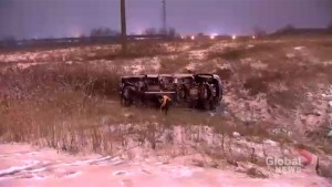Pickup truck flips over on Hwy 407 near Markham in snowy conditions