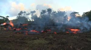 Raw video: Lava flow's slow march onwards continues in Hawaii